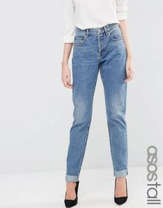 ASOS TALL Carrot Boyfriend Jean – Mid blue. Tall Clothing for Tall Women at PrettyLong.com