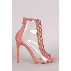 Lucite Suede Diamond Cutout Heeled Booties ($117) via Polyvore featuring shoes, boots, ankle booties, stiletto booties, peep-toe booties, high heel stilettos, suede booties and cut-out booties
