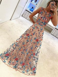 Gorgeous A-line Floral Embroidery Prom Dress Evening Dress