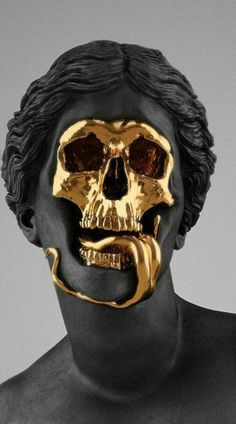 Black and gold statue Schwarz und Gold Statue Aesthetic Art, Aesthetic Pictures, Black And Gold Aesthetic, Sculpture Art, Sculptures, Oldschool, Creepy Art, Skull Art, Wallpaper Quotes