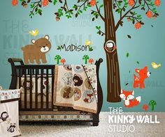 """Children Wall Decal Wall Sticker tree decal - Forest Friends with custom name nursery decal - by Etsy seller """"KinkyWall"""""""
