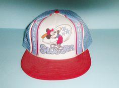 Vintage Mickey Mouse Slugger Baseball Cap Red White Blue Snap Back Walt Disney Productions