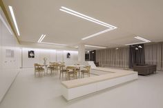 dagli atelier d' architecture was engaged by Clinique Bohler to design the Belle-Epoque Maternity Unit located in Luxembourg City, Luxembourg. The Kirchberg Hospital and the Clinique … Drawing Room Ceiling Design, House Ceiling Design, Ceiling Design Living Room, Bedroom False Ceiling Design, Ceiling Light Design, Home Room Design, Led Light Design, Roof Design, Lighting Design