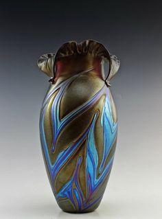 Bohemian/czech 100% True Glamorous Bohemian Art Nouveau Jugendstil Iridescent Glass Vase