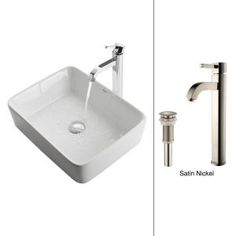 KRAUS Vessel Sink in White with Ramus Faucet in Satin Nickel C-KCV-121-1007SN at The Home Depot - Mobile