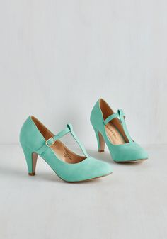 From A to Chic Heel in Mint - Mid, Mint, Solid, Wedding, Party, Work, Casual, Daytime Party, Graduation, Bridesmaid, Pastel, Minimal, Darling, Good, T-Strap, Variation