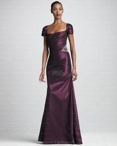 Sheath/Column Square Satin Floor-length Grape Zipper Evening Dress