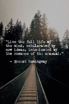 Live the full life of the mind, exhilerated by new ideas, intoxicated by the romance of the unusual. - Ernest Hemingway
