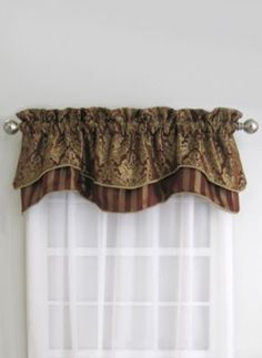 For the master bath Florence Valance in Red/Gold - BedBathandBeyond.com