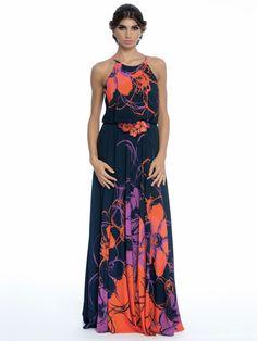 BADGLEY MISCHKA Floral-Print Halter Gown W Beaded Waist Halter Gown b2c263939