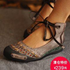 ARTMU AMU Handmade flower retro rub-colored scrub leather Wimmesen female literature sweet spring summer shoes female