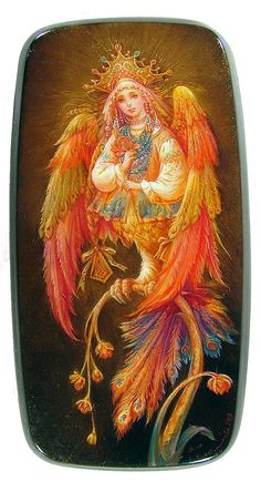 Sirin, by Elena Khomutinnikova, from Fedoskino, 2009 -- The Sirin of Russian legend -half beautiful woman, half bird- is shown perched on a small branch. The Sirin can mean a number of things, and is similar to the Firebird in that it can symbolize eternal happiness.