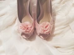 Hand made organza flower clip-on for shoes.  # Celest Thoi bespoke bridal heels blush pink silk organza leather lining shoes