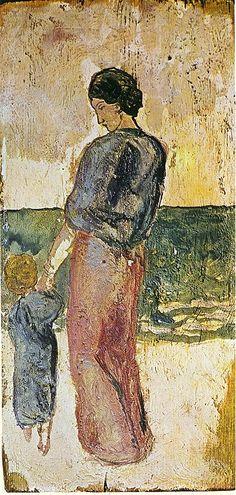 Pablo Picasso - Madre e figlio sulla spiaggia,  1902.