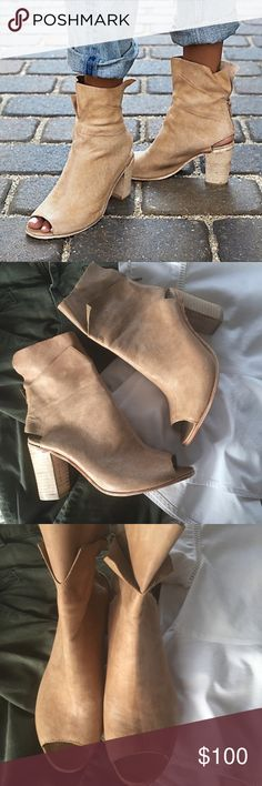 🆕listing: NWOT Free People // Golden Road Bootie Sumptuously soft leather distinguishes a chic open-toe bootie fitted with a flirty open counter and lifted by a blocky stacked heel—a look that's sure to become your new warm-weather staple. New, never worn but have tiny imperfections; small stain and two slight scratches all on the same shoe shown in pic 5. The leather is distressed so the imperfections are not noticeable.  Shoe can be worn all the way up or rolled down as shown in pic 6&7…