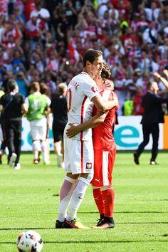 #EURO2016 Grzegorz Krychowiak of Poland and Xherdan Shaqiri of Switzerland during the European Championship match Round of 16 between Switzerland and Poland at...