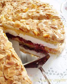 La cuisine creative: Torta sa bademima i visnjama Baking Recipes, Cookie Recipes, Dessert Recipes, Desserts, Pie Recipes, Recipies, Torte Recepti, Kolaci I Torte, Old Fashioned Nut Roll Recipe