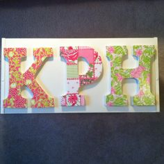 Lilly Pulitzer letters-perfect way to use wrapping paper or old agendas and calendars!
