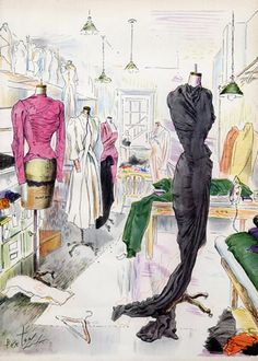 View of the Dressmaking Workroom at Elizabeth Arden's Cosmetics, illustrated by Cecil Beaton (illustration) 1944   Hprints.com