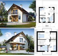 Home Design Plans, Home Interior Design, Narrow House Plans, Small House Exteriors, Architectural House Plans, Independent House, Attic House, Small House Design, Design Case