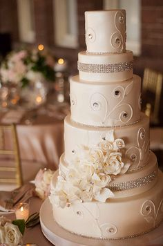 Beautiful sparkle wedding cake by Confectionery Designs. Click to view the fabulous cake gallery: http://www.colincowieweddings.com/collections/confectionerydesigns