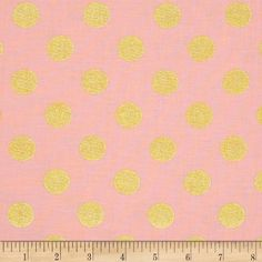 Michael Miller Glitz Metallic Quarter Dot Pearlized Blush from @fabricdotcom  From Michael Miller, this cotton print is perfect for quilting, apparel and home decor accents.  Colors include pink and metallic gold.