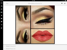 Gold eyeshadow & red lip