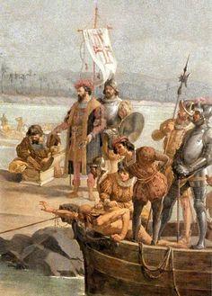 Oscar Pereira da Silva - Desembarque de Pedro Álvares Cabral em Porto Seguro em 1500 (detalhe)
