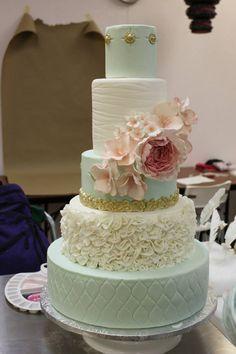 Mint, ivory and blush wedding cake by Sweet Treatz Cake Pops