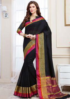 Elegant Black Cotton Silk Saree