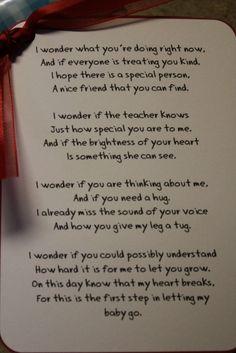 Aww! 1st day of kindergarten poem!