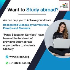 Paras Education Services – the leading study abroad financial consultant with 20+ years of expertise has assisted 10,000+ students with financing options to fulfill their dream to study in college of their choice globally. www.isloan.org Study Abroad, 20 Years, Finance, Dreaming Of You, University, Student, Education, Economics, Onderwijs