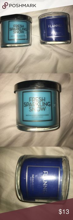 BBW candles Price is for both. I have one flannel and one fresh sparkling snow. The flannel one has been burned before , but has plenty left bath body works Makeup Brushes & Tools