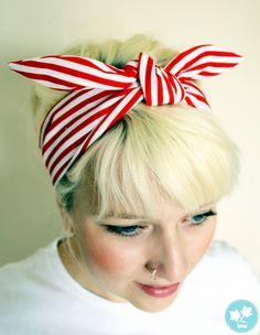 Nautical rockabilly headband. Red and white stripes. Retro hair tie. Pin up style hair wrap. 50s head band. Hippie hairband. 60s head scarf.. $14.50, via Etsy.