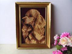 French tapestry dog art picture. Vintage framed needlepoint dog art tapestry portrait. Wall hanging, Golden brown beige Spaniel dog.