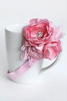 Pink Lacey Cluster of Flowers by JensBowdaciousBows on Etsy, $14.95