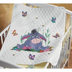 baby Needlework Kits | Janlynn Stamped Cross Stitch Baby Quilt Kit - Eeyore and Butterflies ...