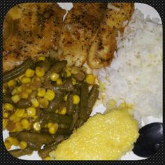 #Baked#tilapiafish#mixed veggies#sauteed#in butter#and #carmelize onions#cornbread#white#rice#with#butter#and#sugar
