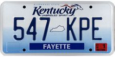 The official Kentucky state license plate.