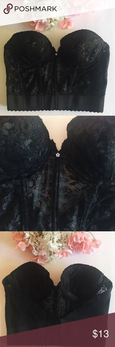 vintage lace bustier lace bustier - authentic vintage, black lace backless bustier. size 38b. padded cups. adjustable back hooks. gorgeous essential in a lingerie collection. #skivvies #undergarment #sexy #classic #lingerie #corset #bustier #waisttrainer Intimates & Sleepwear Bras