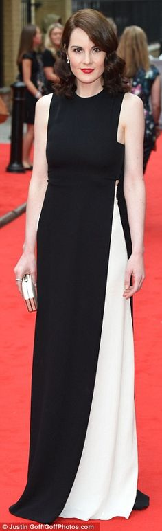 Michelle Dockery in black and white at BAFTA Downton Abbey tribute #dailymail