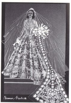 1947 - Norman Hartnell sketch for the wedding gown of Princess Elizabeth