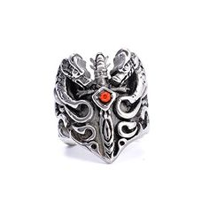 LOPEZ KENT Jewelry Mens Stainless Steel Ring Dragon Sword with Red Stone