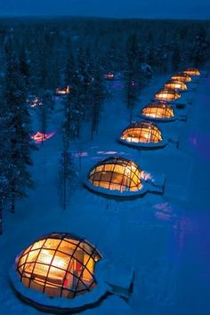 Rent a glass igloo in Finland to sleep under the northern lights. Not too sure about the cold weather, but I guess that's what snuggling is for!