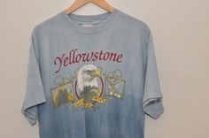 Yellowstone National Park Eagle Blue Tie Dye T-Shirt Men's Large #Tultex #GraphicTee