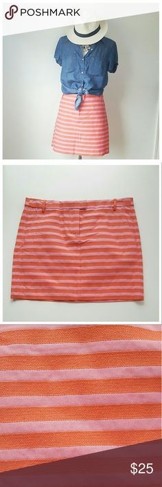 J. Crew Factory Striped Skirt NWT SIZE12 -BRAND- J. Crew Factory  -CONDITION- NWT -COLOR- Pink/Orange -COMPOSITION- Cotton, nylon -SIZE- 12 -MEASUREMENTS- 36in waist x 42in hip x 16in L -DETAILS- Classic Fit, pockets, zip/button/tab  waist closure, belt loops, .75in stripe width J. Crew Factory Skirts