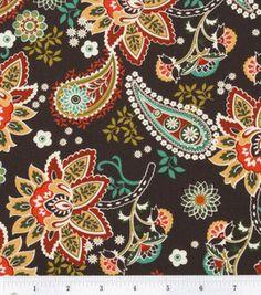 Guest room headboard inspiration or guest room pillow (Keepsake Calico Fabric- Paisley Peacock Brown Multi Toss Floral: keepsake calico fabric: quilting fabric & kits: fabric: Shop   Joann.com)