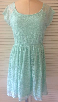 One Clothing Womens Juniors Dress Large Mint Green Short Sleeve Lace Above Knee | eBay