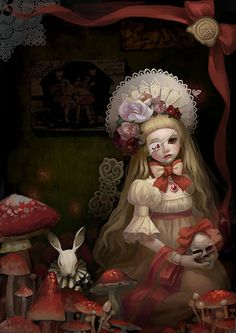 Alice & The White Rabbit after the tea party.
