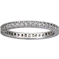 18K White Gold Beyond Eternity Pave Diamond Ring with Milgrain Detail from BrilliantEarth.com